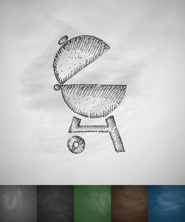 barbecues icon. Hand drawn vector illustration. Chalkboard Design