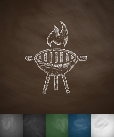barbecue icon. Hand drawn vector illustration. Chalkboard Design