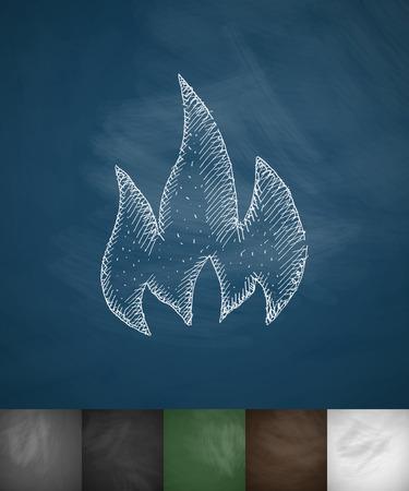 fire icon. Hand drawn vector illustration. Chalkboard Design Illustration
