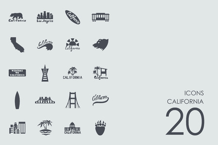 California vector set of modern simple icons
