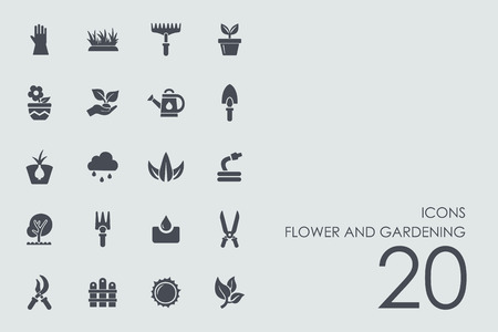 landscaped garden: flower and gardening vector set of modern simple icons