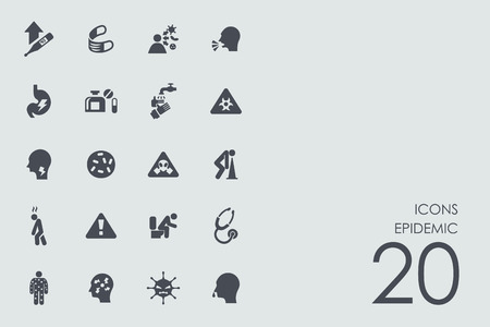 quarantine: epidemic vector set of modern simple icons Illustration