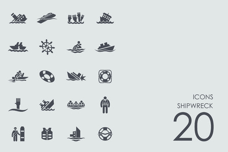 shipwreck vector set of modern simple icons