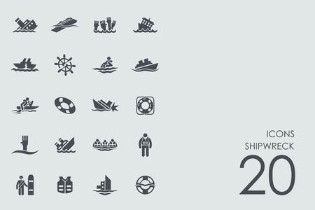 Schiffbruch Vektor Reihe von modernen einfache Symbole Standard-Bild - 65474275