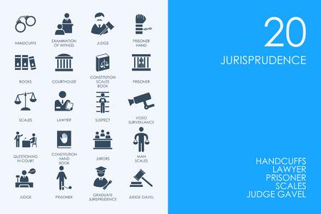 jurisprudencia: AZUL HAMSTER Biblioteca jurisprudencia conjunto de vectores de iconos simples modernos Vectores
