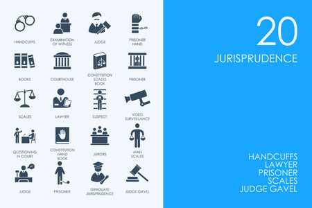 jurisprudence: BLUE HAMSTER Library jurisprudence vector set of modern simple icons