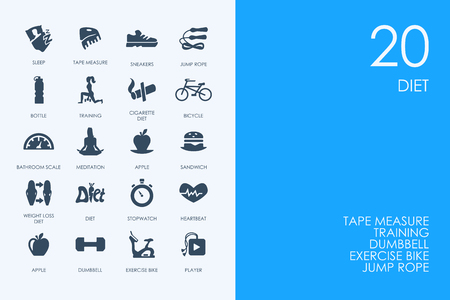 temperance: BLUE HAMSTER Library diet vector set of modern simple icons