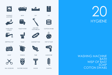 epidemiology: BLUE HAMSTER Library hygiene vector set of modern simple icons