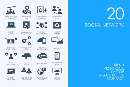 web portal: BLUE HAMSTER Library social network vector set of modern simple icons Illustration