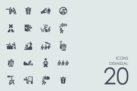 dismissal: dismissal vector set of modern simple icons