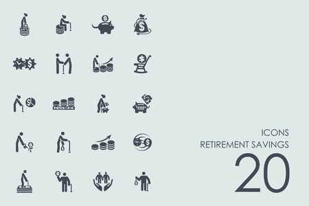 retired: retirement savings vector set of modern simple icons