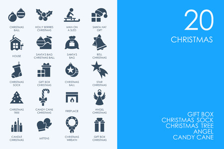 BLUE HAMSTER Library Christmas vector set of modern simple icons