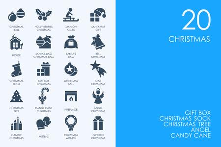 Insieme blu di vettore di Natale delle icone semplici moderne di HAMSTER della biblioteca