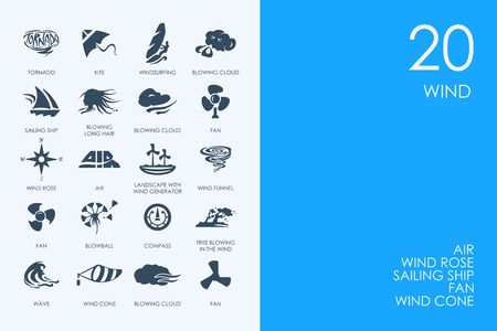 winds: BLUE HAMSTER Library wind vector set of modern simple icons