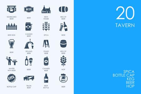 tavern: BLUE HAMSTER Library tavern vector set of modern simple icons Illustration