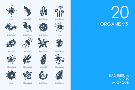 organisms: BLUE HAMSTER Library organisms vector set of modern simple icons