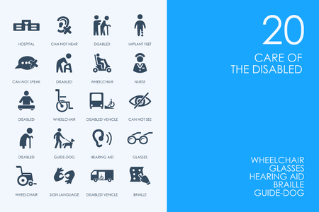 BLUE HAMSTER Library people with disabilities vector set of modern simple icons