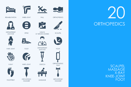 BLUE HAMSTER Library orthopedics vector set of modern simple icons