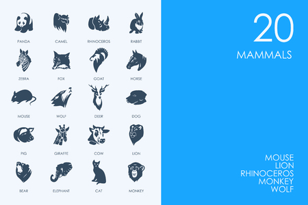 mammals: BLUE HAMSTER Library mammals vector set of modern simple icons