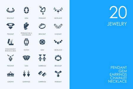 jewelry vector: BLUE HAMSTER Library jewelry vector set of modern simple icons Illustration