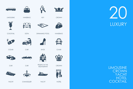 wealthy lifestyle: BLUE HAMSTER Library luxury vector set of modern simple icons