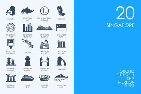 BLUE HAMSTER Library Singapore vecteur ensemble d'icônes simples modernes