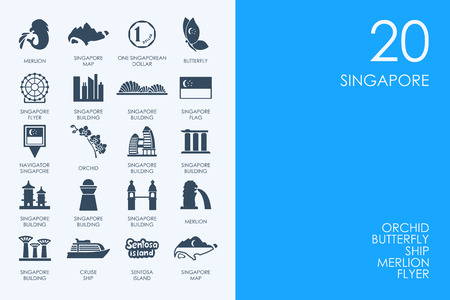 BLUE HAMSTER Library Singapore vector set of modern simple icons Illustration