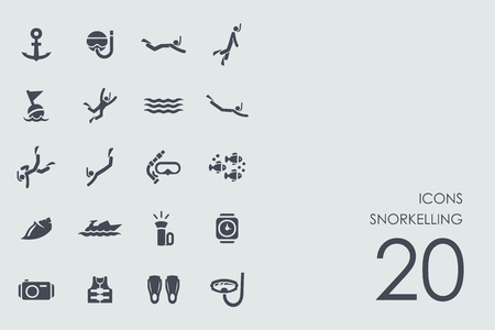 snorkelling: snorkelling vector set of modern simple icons Illustration