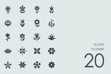 landscaped garden: flower vector set of modern simple icons