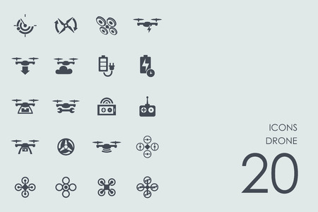drones: drone vector set of modern simple icons