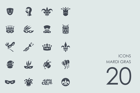 Mardi Gras vector set of modern simple icons Illustration