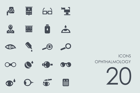fundus: ophthalmology vector set of modern simple icons