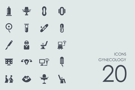 gynecologist: gynecology vector set of modern simple icons Illustration