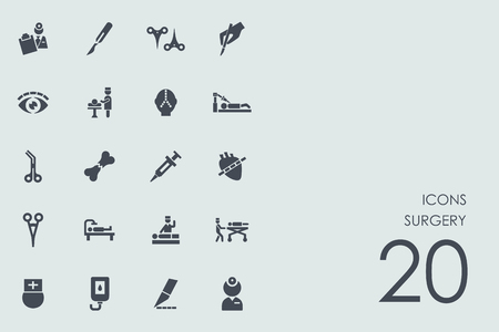 medical gloves: surgery vector set of modern simple icons Illustration