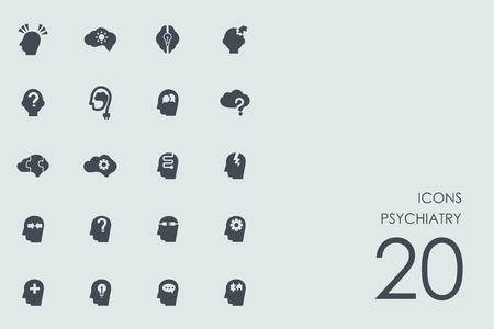 Psychiatrie Vektor Reihe von modernen einfache Symbole