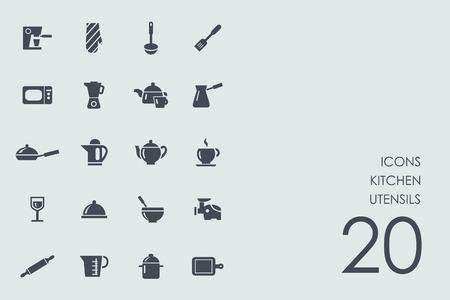 sieve: kitchen utensils vector set of modern simple icons Illustration
