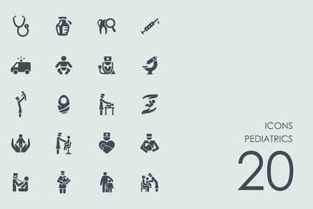 pediatría conjunto de vectores de iconos simples modernos