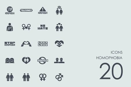 homophobia: homophobia vector set of modern simple icons Illustration