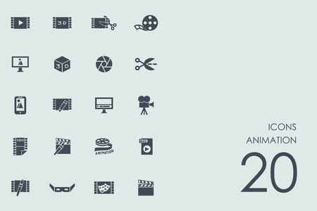 animation vector set of modern simple icons Illustration