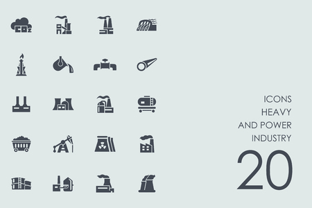 heavy set: heavy and power industry vector set of modern simple icons