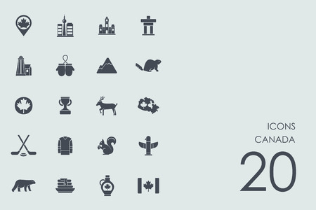 national park: Canada vector set of modern simple icons