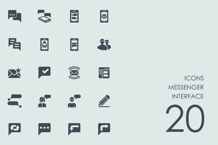 instant messaging: messenger interface vector set of modern simple icons Illustration