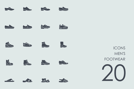 men's shoes: mens footwear vector set of modern simple icons Illustration