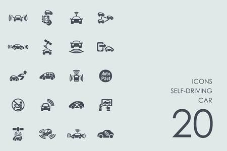 zelfrijdende auto vector set van moderne eenvoudige pictogrammen Stock Illustratie