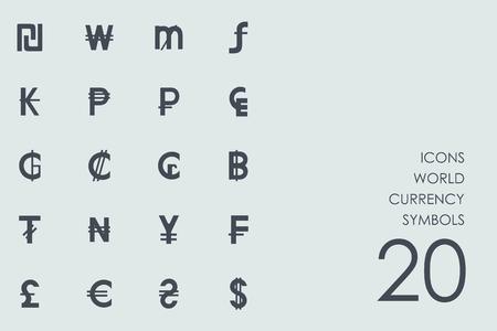 Wereld valuta symbolen vector set van moderne eenvoudige pictogrammen