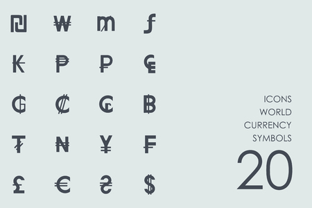 currency symbols: world currency symbols vector set of modern simple icons