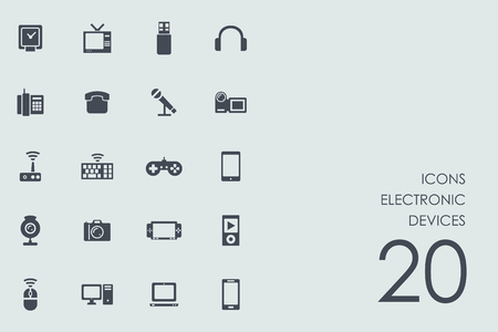 electronic devices: electronic devices vector set of modern simple icons Illustration