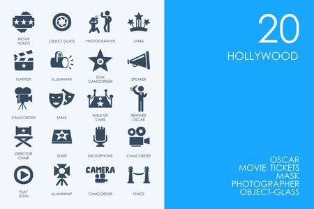 boulevard: film vector set of modern simple icons