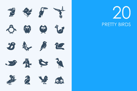 pretty birds vector set of modern simple icons