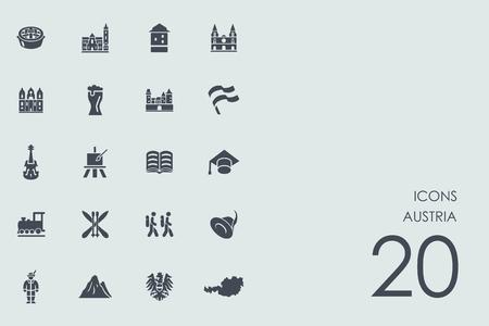 Austria vector set of modern simple icons